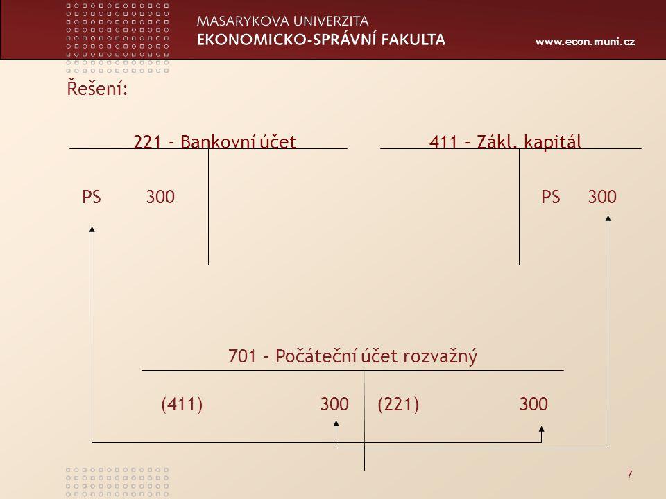 www.econ.muni.cz 7 Řešení: 221 - Bankovní účet 411 – Zákl.
