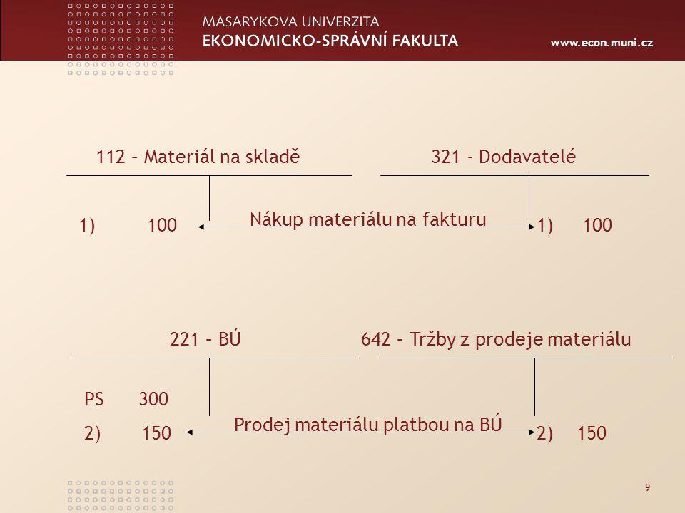 www.econ.muni.cz 9 1) 100 112 – Materiál na skladě 321 - Dodavatelé 221 – BÚ 642 – Tržby z prodeje materiálu PS 300 2) 150 Nákup materiálu na fakturu Prodej materiálu platbou na BÚ