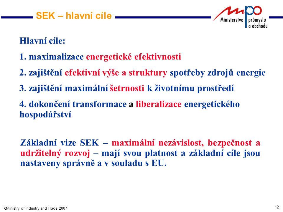 12  Ministry of Industry and Trade 2007 SEK – hlavní cíle Základní vize SEK – maximální nezávislost, bezpečnost a udržitelný rozvoj – mají svou platnost a základní cíle jsou nastaveny správně a v souladu s EU.