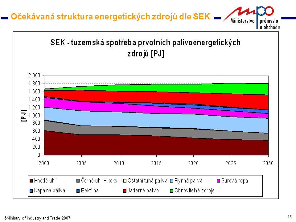 13  Ministry of Industry and Trade 2007 Očekávaná struktura energetických zdrojů dle SEK