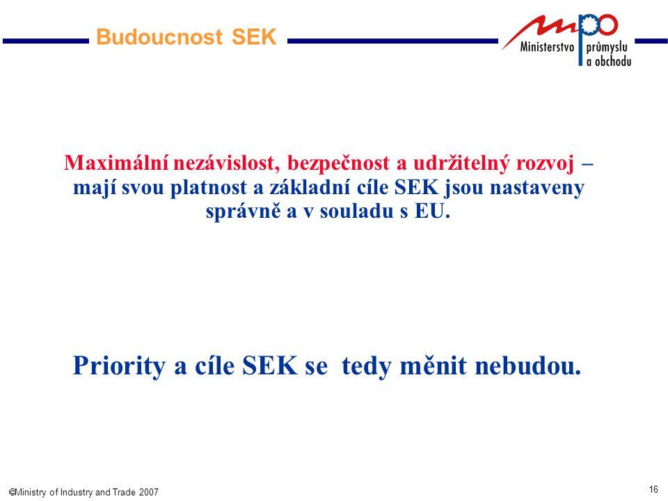 16  Ministry of Industry and Trade 2007 Budoucnost SEK Maximální nezávislost, bezpečnost a udržitelný rozvoj – mají svou platnost a základní cíle SEK jsou nastaveny správně a v souladu s EU.