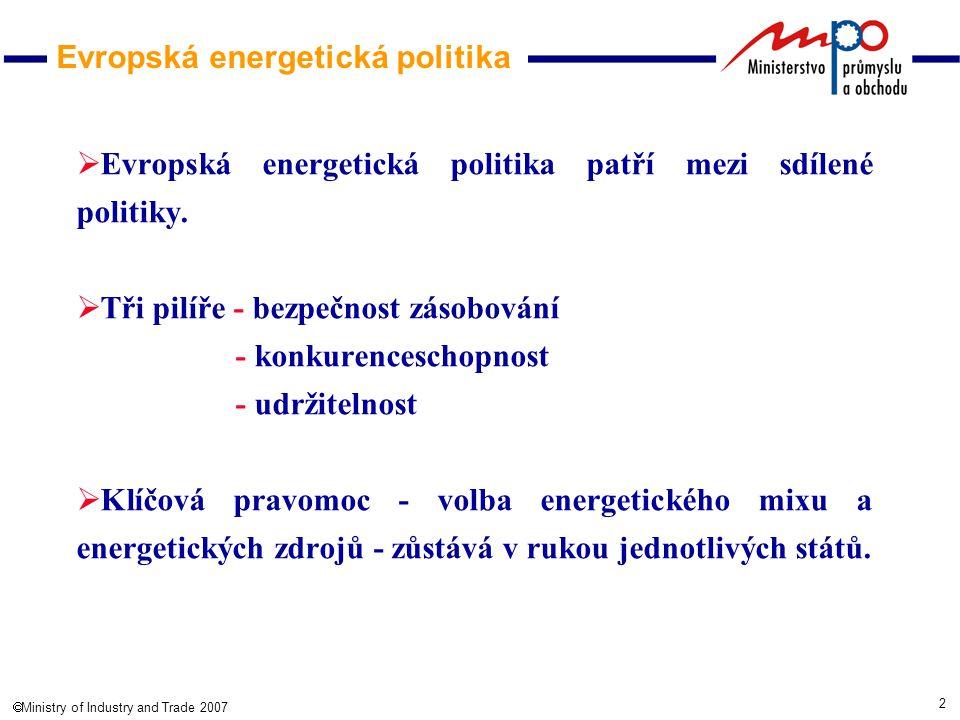 2  Ministry of Industry and Trade 2007 Evropská energetická politika  Evropská energetická politika patří mezi sdílené politiky.