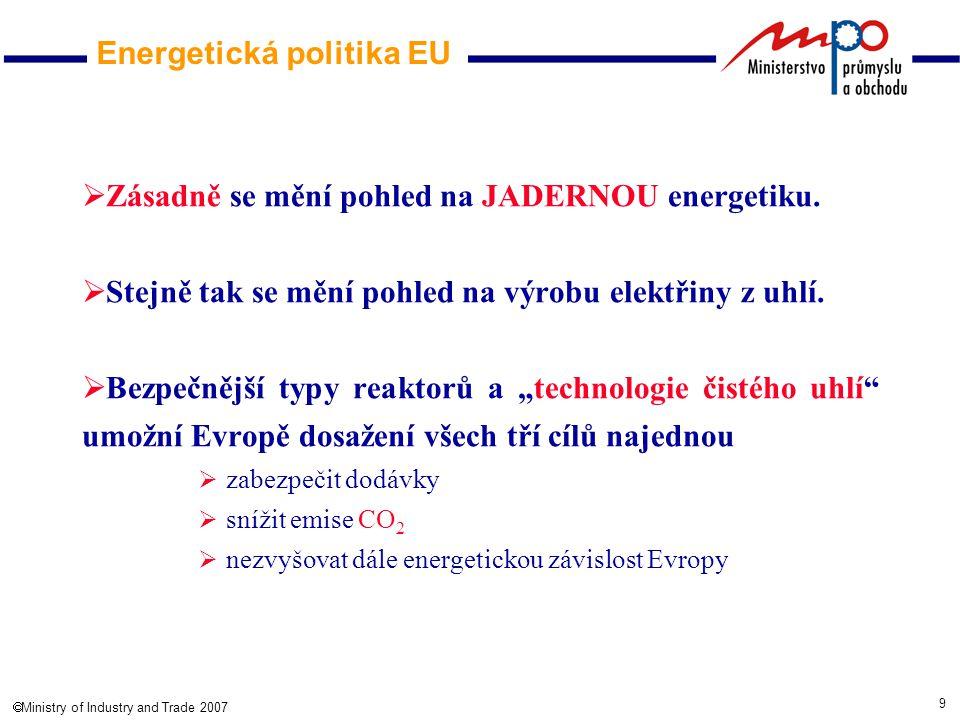 9  Ministry of Industry and Trade 2007  Zásadně se mění pohled na JADERNOU energetiku.