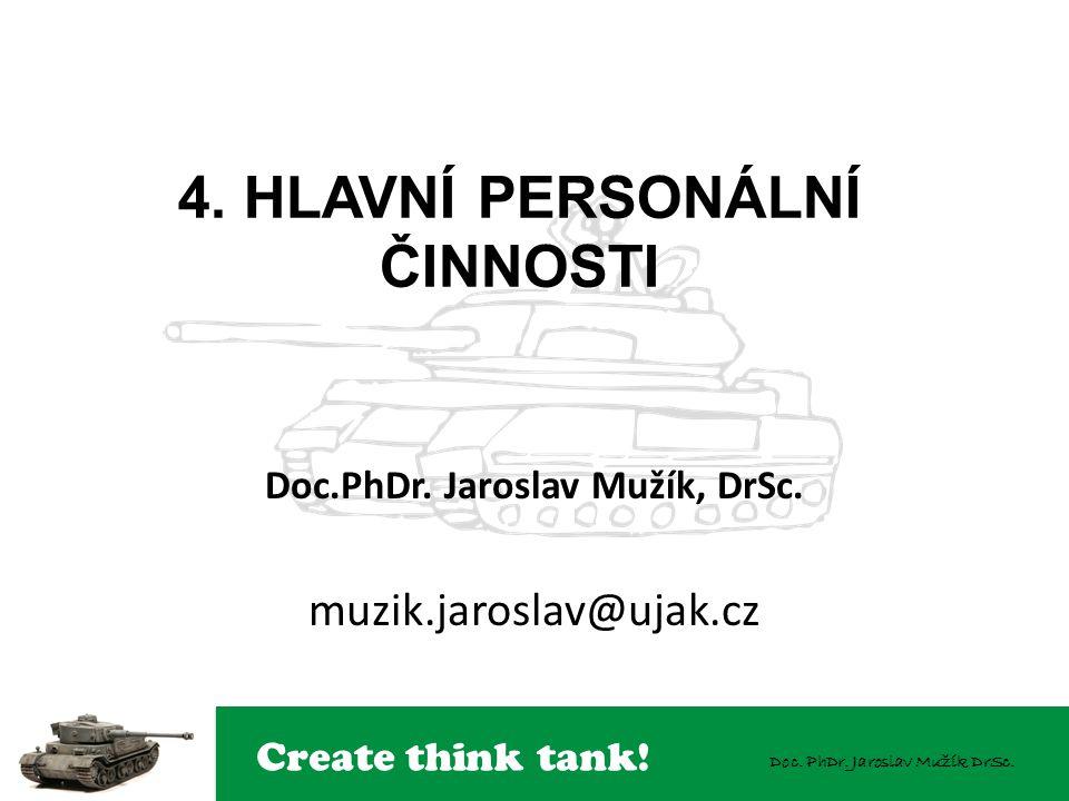 Create think tank! Doc. PhDr. Jaroslav Mužík DrSc. 4. HLAVNÍ PERSONÁLNÍ ČINNOSTI Doc.PhDr. Jaroslav Mužík, DrSc. muzik.jaroslav@ujak.cz