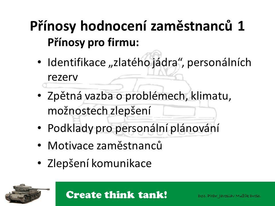 """Create think tank! Doc. PhDr. Jaroslav Mužík DrSc. Přínosy hodnocení zaměstnanců 1 Přínosy pro firmu: Identifikace """"zlatého jádra"""", personálních rezer"""