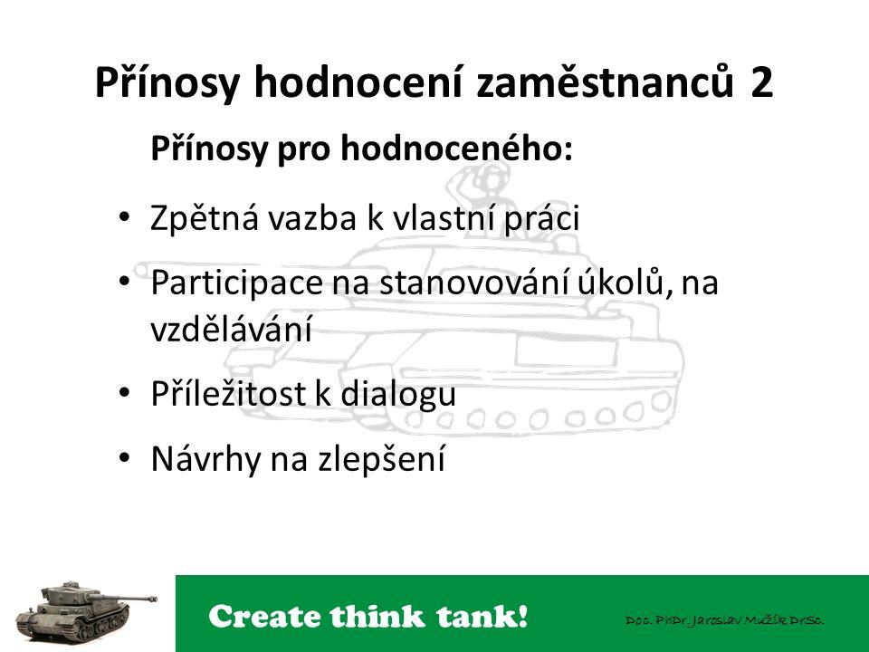 Create think tank! Doc. PhDr. Jaroslav Mužík DrSc. Přínosy hodnocení zaměstnanců 2 Přínosy pro hodnoceného: Zpětná vazba k vlastní práci Participace n