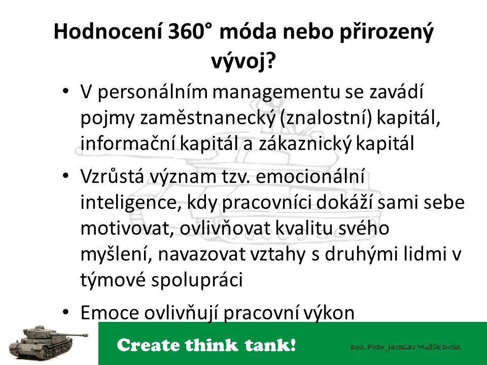 Create think tank! Doc. PhDr. Jaroslav Mužík DrSc. Hodnocení 360° móda nebo přirozený vývoj? V personálním managementu se zavádí pojmy zaměstnanecký (