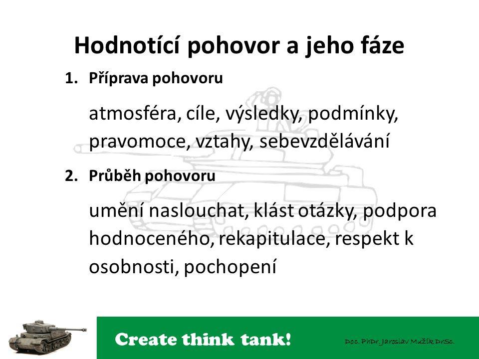 Create think tank! Doc. PhDr. Jaroslav Mužík DrSc. Hodnotící pohovor a jeho fáze 1.Příprava pohovoru atmosféra, cíle, výsledky, podmínky, pravomoce, v