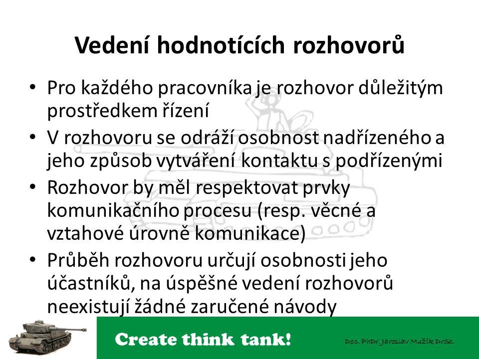 Create think tank! Doc. PhDr. Jaroslav Mužík DrSc. Vedení hodnotících rozhovorů Pro každého pracovníka je rozhovor důležitým prostředkem řízení V rozh
