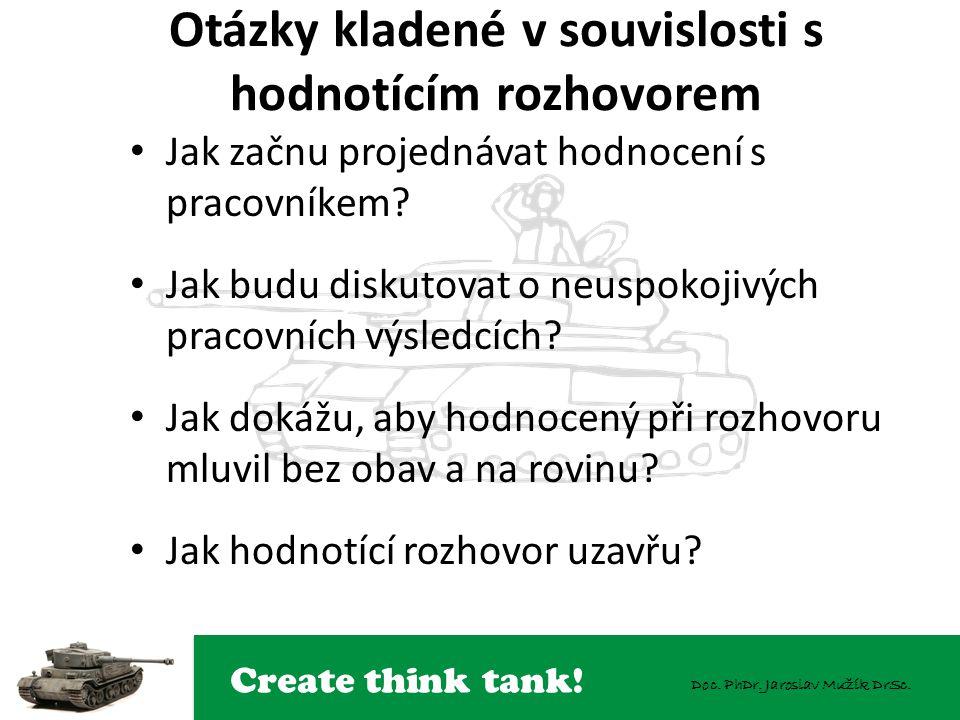 Create think tank! Doc. PhDr. Jaroslav Mužík DrSc. Otázky kladené v souvislosti s hodnotícím rozhovorem Jak začnu projednávat hodnocení s pracovníkem?