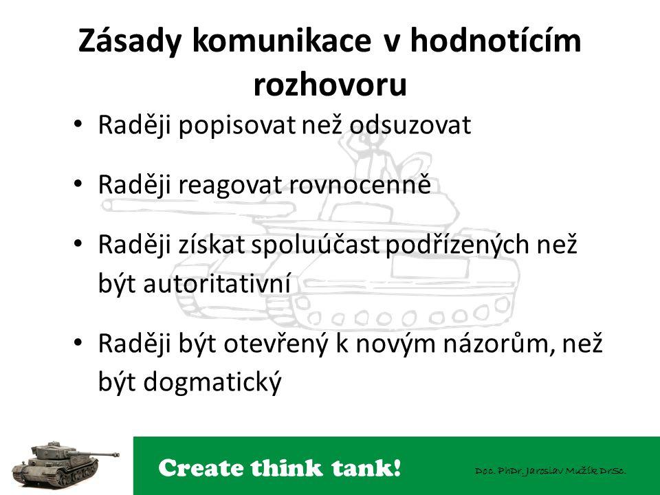Create think tank! Doc. PhDr. Jaroslav Mužík DrSc. Zásady komunikace v hodnotícím rozhovoru Raději popisovat než odsuzovat Raději reagovat rovnocenně