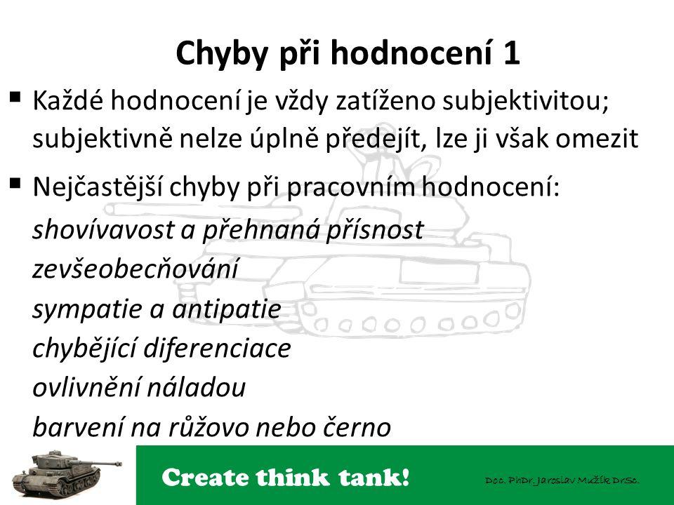 Create think tank! Doc. PhDr. Jaroslav Mužík DrSc. Chyby při hodnocení 1  Každé hodnocení je vždy zatíženo subjektivitou; subjektivně nelze úplně pře