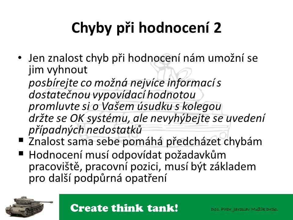 Create think tank! Doc. PhDr. Jaroslav Mužík DrSc. Chyby při hodnocení 2 Jen znalost chyb při hodnocení nám umožní se jim vyhnout posbírejte co možná