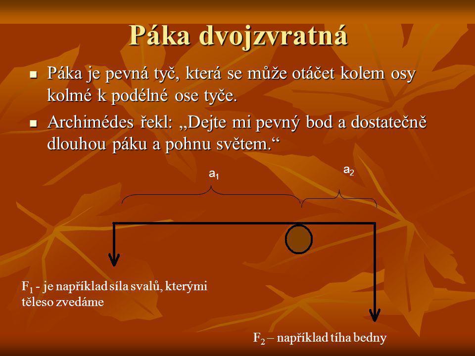 Páka dvojzvratná Páka je pevná tyč, která se může otáčet kolem osy kolmé k podélné ose tyče. Páka je pevná tyč, která se může otáčet kolem osy kolmé k