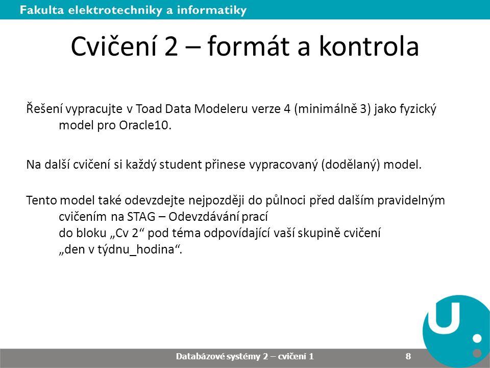 Cvičení 2 – formát a kontrola Řešení vypracujte v Toad Data Modeleru verze 4 (minimálně 3) jako fyzický model pro Oracle10.