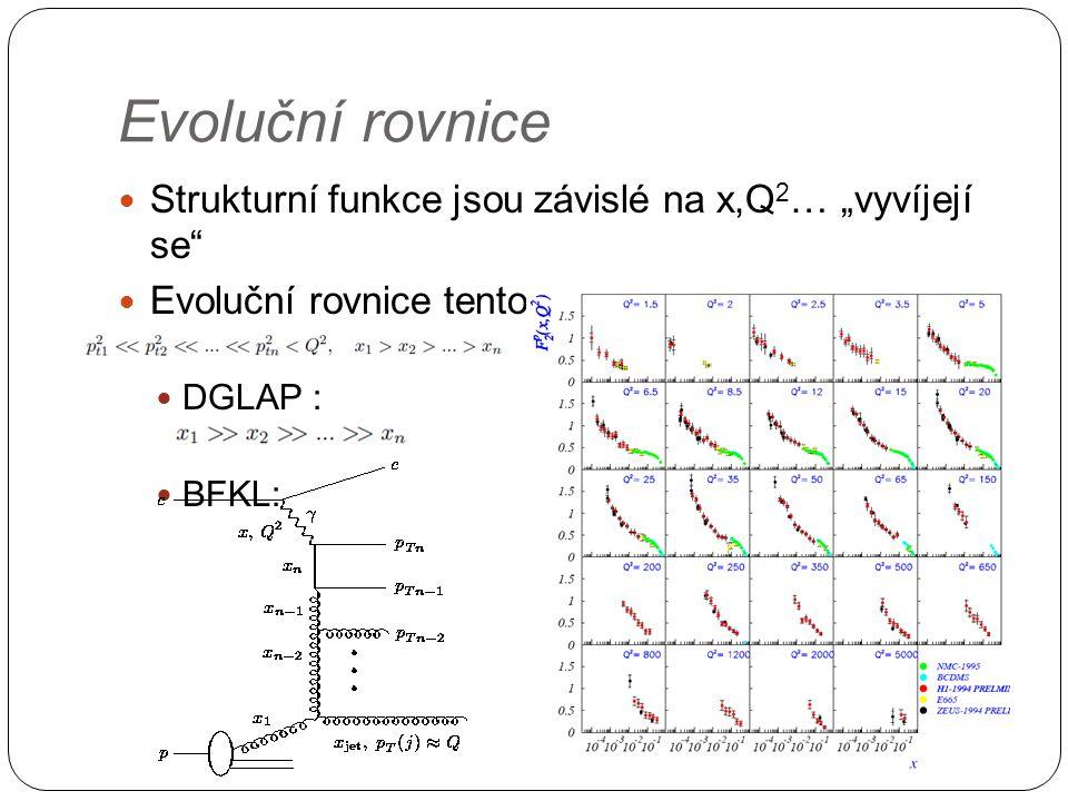 """Evoluční rovnice Strukturní funkce jsou závislé na x,Q 2 … """"vyvíjejí se Evoluční rovnice tento vývoj popisují – DGLAP, BFKL,.."""