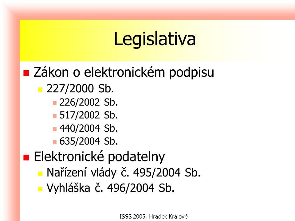 ISSS 2005, Hradec Králové Legislativa Zákon o elektronickém podpisu 227/2000 Sb.