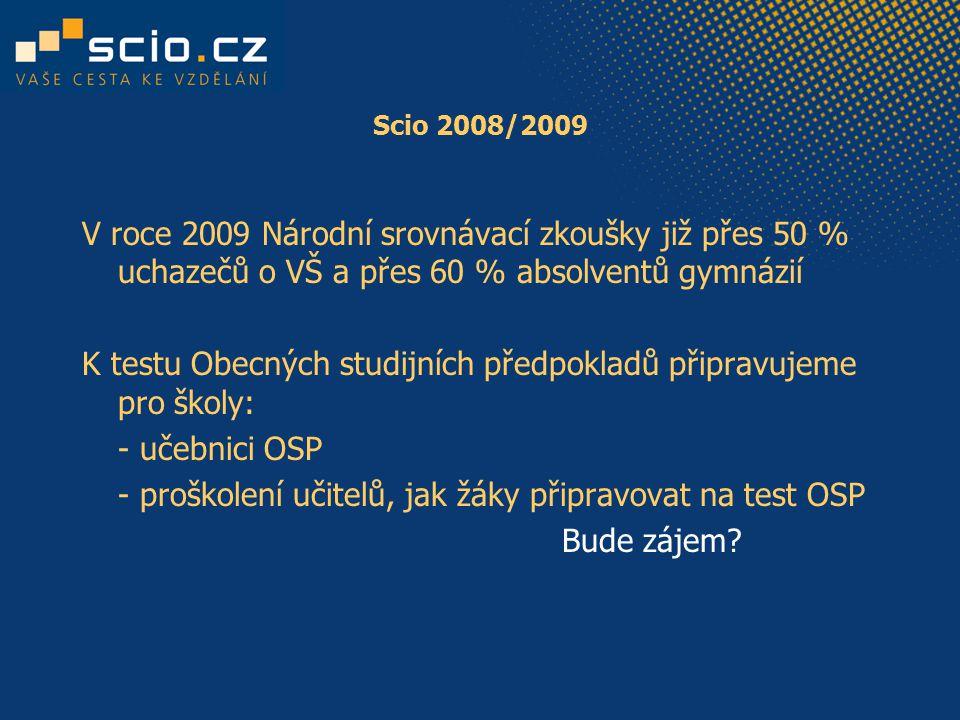 Scio 2008/2009 V roce 2009 Národní srovnávací zkoušky již přes 50 % uchazečů o VŠ a přes 60 % absolventů gymnázií K testu Obecných studijních předpokladů připravujeme pro školy: - učebnici OSP - proškolení učitelů, jak žáky připravovat na test OSP Bude zájem?