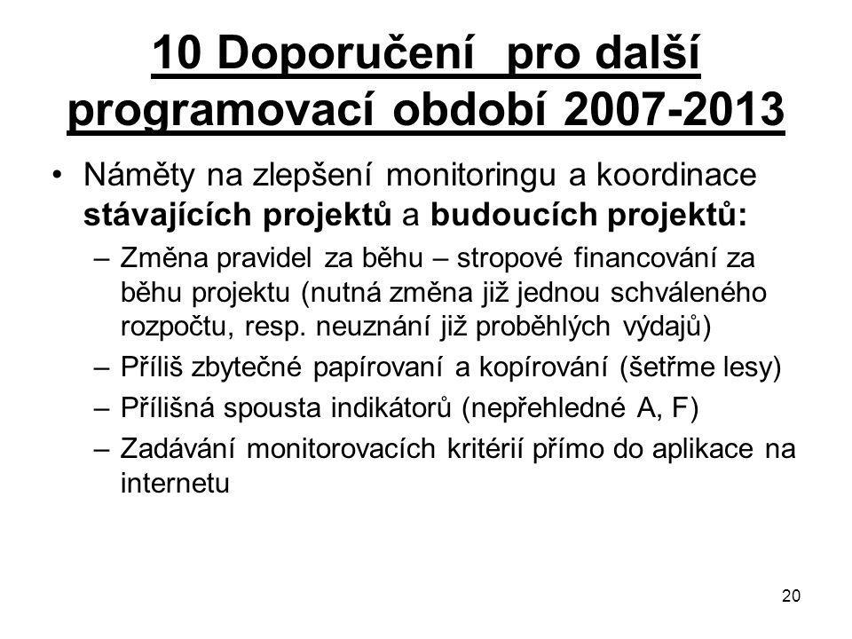 20 10 Doporučení pro další programovací období 2007-2013 Náměty na zlepšení monitoringu a koordinace stávajících projektů a budoucích projektů: –Změna pravidel za běhu – stropové financování za běhu projektu (nutná změna již jednou schváleného rozpočtu, resp.