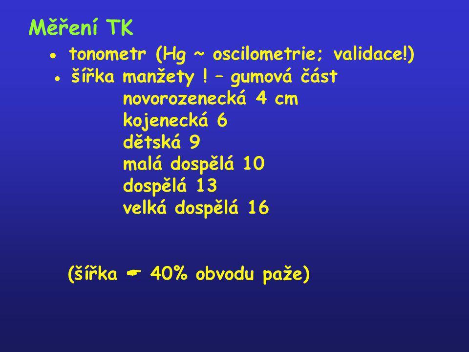 Měření TK ● tonometr (Hg ~ oscilometrie; validace!) ● šířka manžety ! – gumová část novorozenecká 4 cm kojenecká 6 dětská 9 malá dospělá 10 dospělá 13