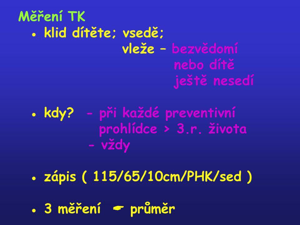 Měření TK ● klid dítěte; vsedě; vleže – bezvědomí nebo dítě ještě nesedí ● kdy? - při každé preventivní prohlídce > 3.r. života - vždy ● zápis ( 115/6