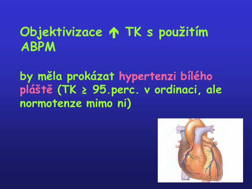 Objektivizace  TK s použitím ABPM by měla prokázat hypertenzi bílého pláště (TK ≥ 95.perc. v ordinaci, ale normotenze mimo ni)