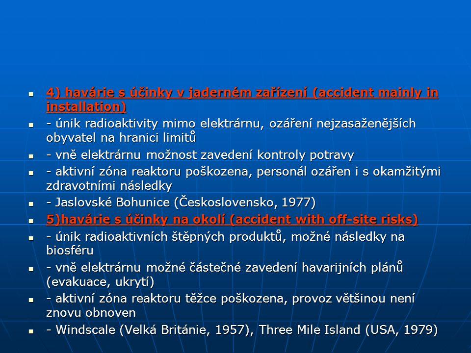 6)závažná havárie (serious accident) 6)závažná havárie (serious accident) - velký únik radioaktivity mimo elektrárnu, následky na biosféru - velký únik radioaktivity mimo elektrárnu, následky na biosféru - vně elektrárnu nutnost použít havarijní plány, možné trvalé následky - vně elektrárnu nutnost použít havarijní plány, možné trvalé následky 7)velká havárie (major accident) 7)velká havárie (major accident) - únik velkého množství radioaktivních látek z aktivní zóny reaktoru mimo elektrárnu - únik velkého množství radioaktivních látek z aktivní zóny reaktoru mimo elektrárnu - vně elektrárnu okamžité zdravotní následky, zasažení velkého území - vně elektrárnu okamžité zdravotní následky, zasažení velkého území - trvalé následky na biosféru (včetně rozsáhlých důsledků na zdraví obyvatel) - trvalé následky na biosféru (včetně rozsáhlých důsledků na zdraví obyvatel) - Černobyl (SSSR, 1986) - Černobyl (SSSR, 1986)