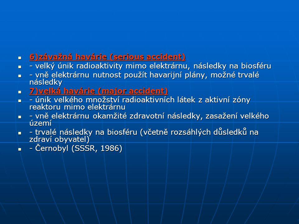 6)závažná havárie (serious accident) 6)závažná havárie (serious accident) - velký únik radioaktivity mimo elektrárnu, následky na biosféru - velký úni