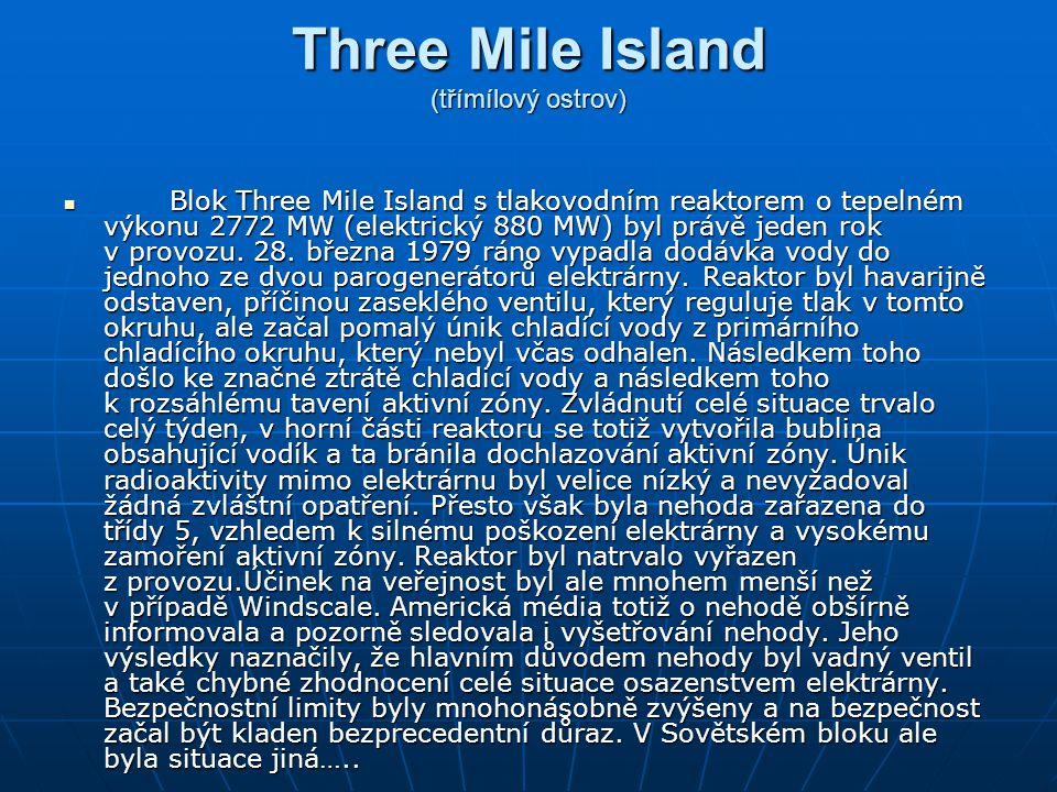 Three Mile Island (třímílový ostrov) Blok Three Mile Island s tlakovodním reaktorem o tepelném výkonu 2772 MW (elektrický 880 MW) byl právě jeden rok