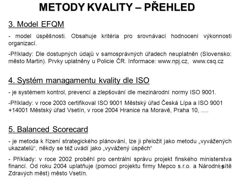 15 METODY KVALITY – PŘEHLED 3. Model EFQM - model úspěšnosti. Obsahuje kritéria pro srovnávací hodnocení výkonnosti organizací. -Příklady: Dle dostupn