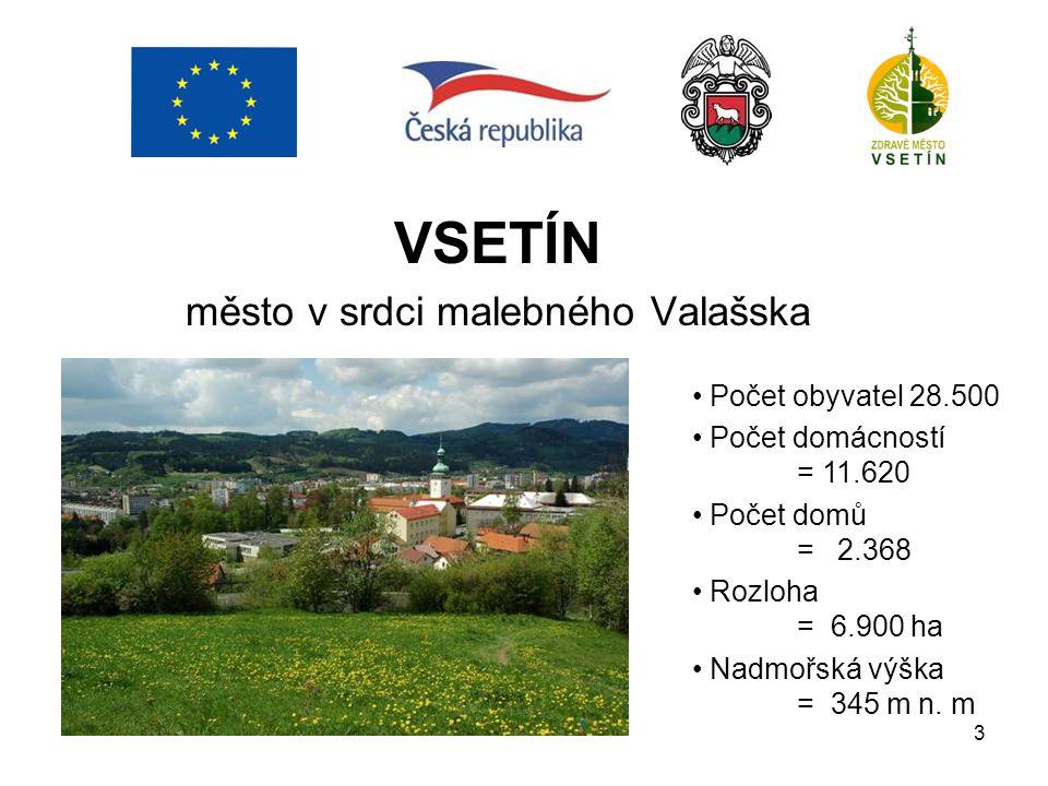 3 VSETÍN město v srdci malebného Valašska Počet obyvatel 28.500 Počet domácností = 11.620 Počet domů = 2.368 Rozloha = 6.900 ha Nadmořská výška = 345