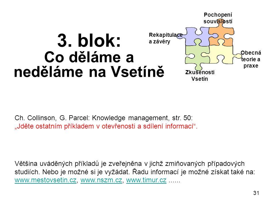 31 3. blok: Co děláme a neděláme na Vsetíně Rekapitulace a závěry Pochopení souvislostí Obecná teorie a praxe Zkušenosti Vsetín Ch. Collinson, G. Parc