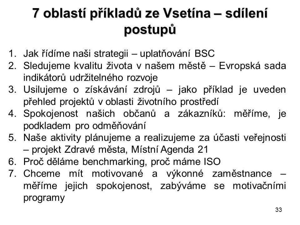 33 7 oblastí příkladů ze Vsetína – sdílení postupů 1.Jak řídíme naši strategii – uplatňování BSC 2.Sledujeme kvalitu života v našem městě – Evropská s