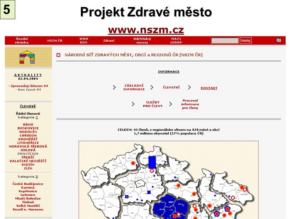 www.nszm.cz Projekt Zdravé město 5