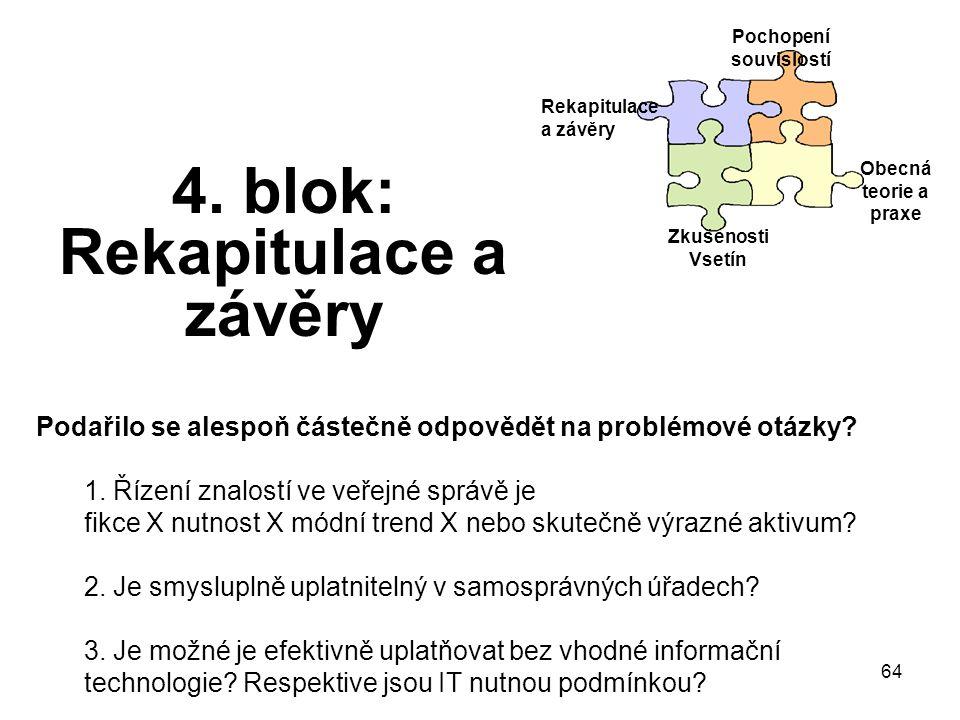 64 4. blok: Rekapitulace a závěry Rekapitulace a závěry Pochopení souvislostí Obecná teorie a praxe Zkušenosti Vsetín Podařilo se alespoň částečně odp