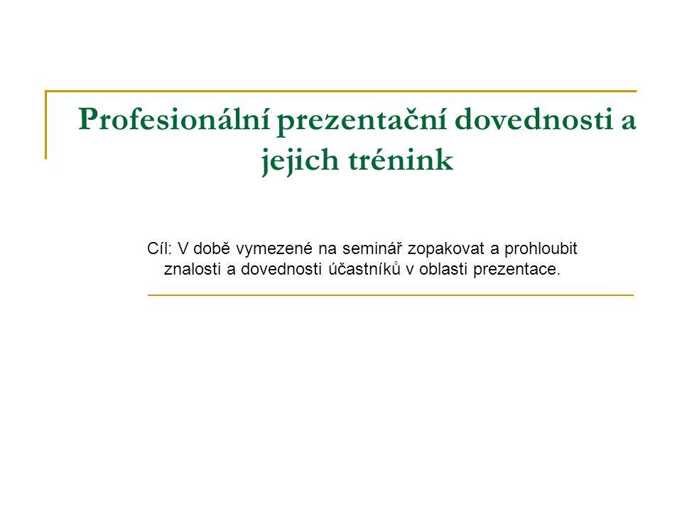 Profesionální prezentační dovednosti a jejich trénink Cíl: V době vymezené na seminář zopakovat a prohloubit znalosti a dovednosti účastníků v oblasti prezentace.