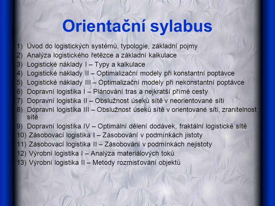 Orientační sylabus 1)Úvod do logistických systémů, typologie, základní pojmy 2)Analýza logistického řetězce a základní kalkulace 3)Logistické náklady