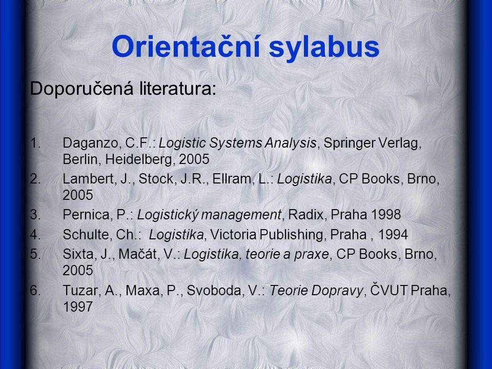 Orientační sylabus Doporučená literatura: 1.Daganzo, C.F.: Logistic Systems Analysis, Springer Verlag, Berlin, Heidelberg, 2005 2.Lambert, J., Stock,