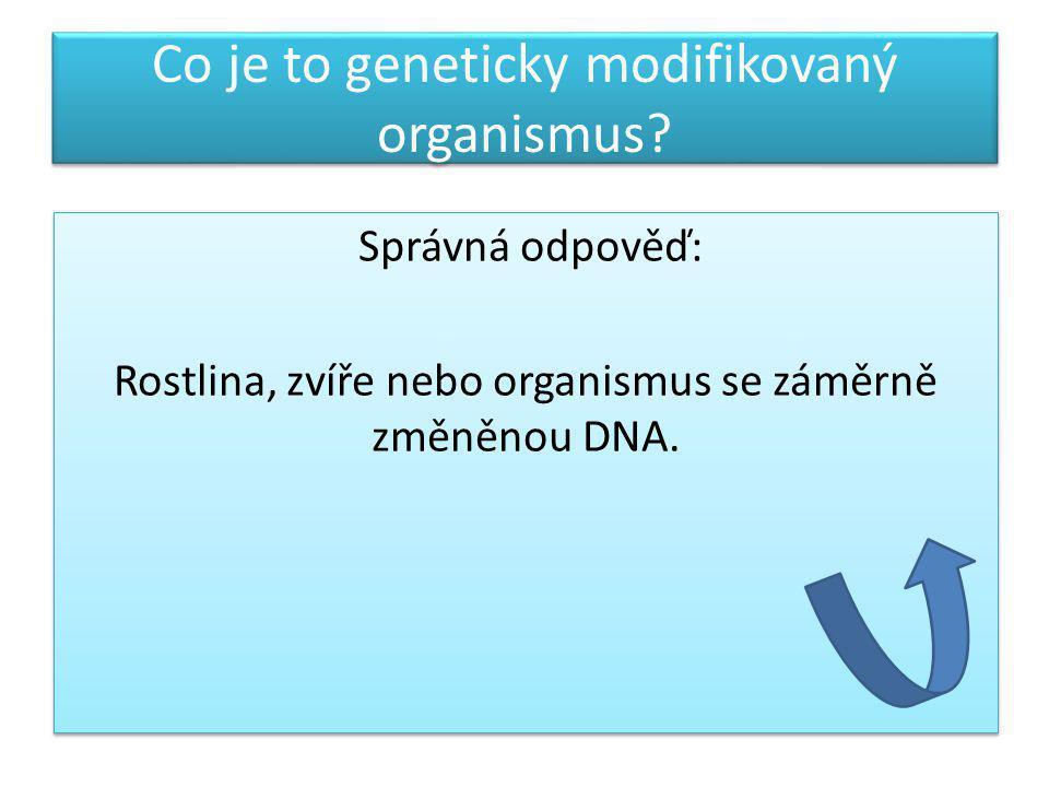 Co je to geneticky modifikovaný organismus? Správná odpověď: Rostlina, zvíře nebo organismus se záměrně změněnou DNA. Správná odpověď: Rostlina, zvíře