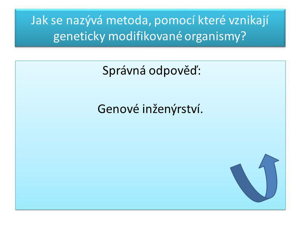Jak se nazývá metoda, pomocí které vznikají geneticky modifikované organismy? Správná odpověď: Genové inženýrství. Správná odpověď: Genové inženýrství