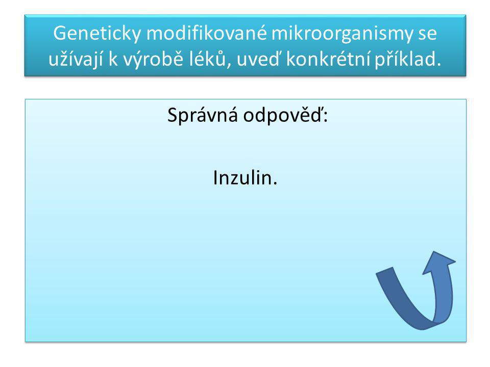 Geneticky modifikované mikroorganismy se užívají k výrobě léků, uveď konkrétní příklad. Správná odpověď: Inzulin. Správná odpověď: Inzulin.