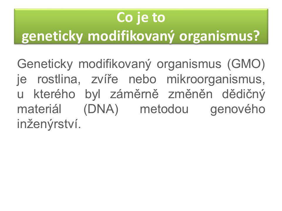 Co je to geneticky modifikovaný organismus? Geneticky modifikovaný organismus (GMO) je rostlina, zvíře nebo mikroorganismus, u kterého byl záměrně změ