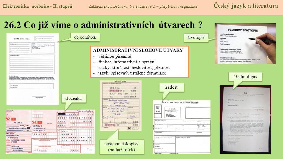 26.2 Co již víme o administrativních útvarech .Elektronická učebnice - II.