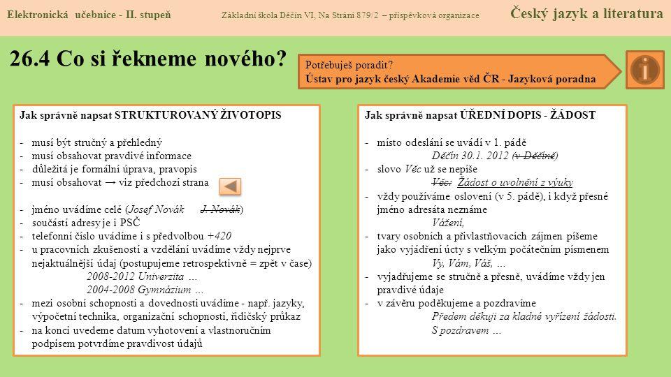 26.4 Co si řekneme nového.Elektronická učebnice - II.