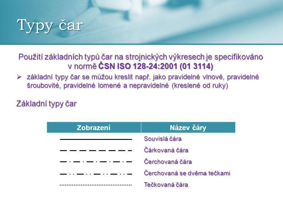 Typy čar Použití základních typů čar na strojnických výkresech je specifikováno v normě ČSN ISO 128-24:2001 (01 3114)  základní typy čar se můžou kre