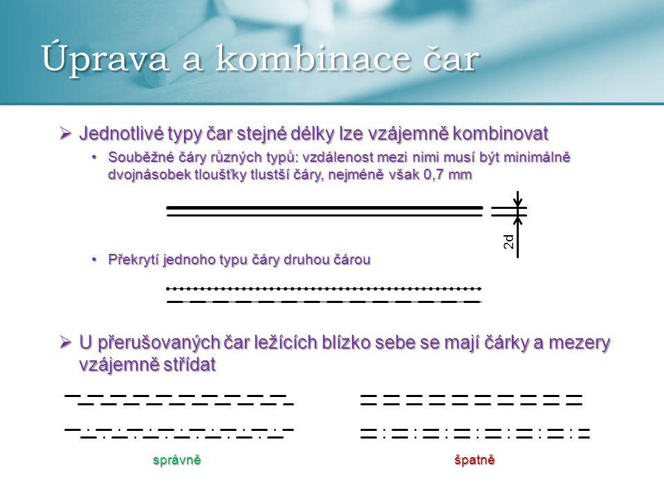 Úprava a kombinace čar  Jednotlivé typy čar stejné délky lze vzájemně kombinovat Souběžné čáry různých typů: vzdálenost mezi nimi musí být minimálně