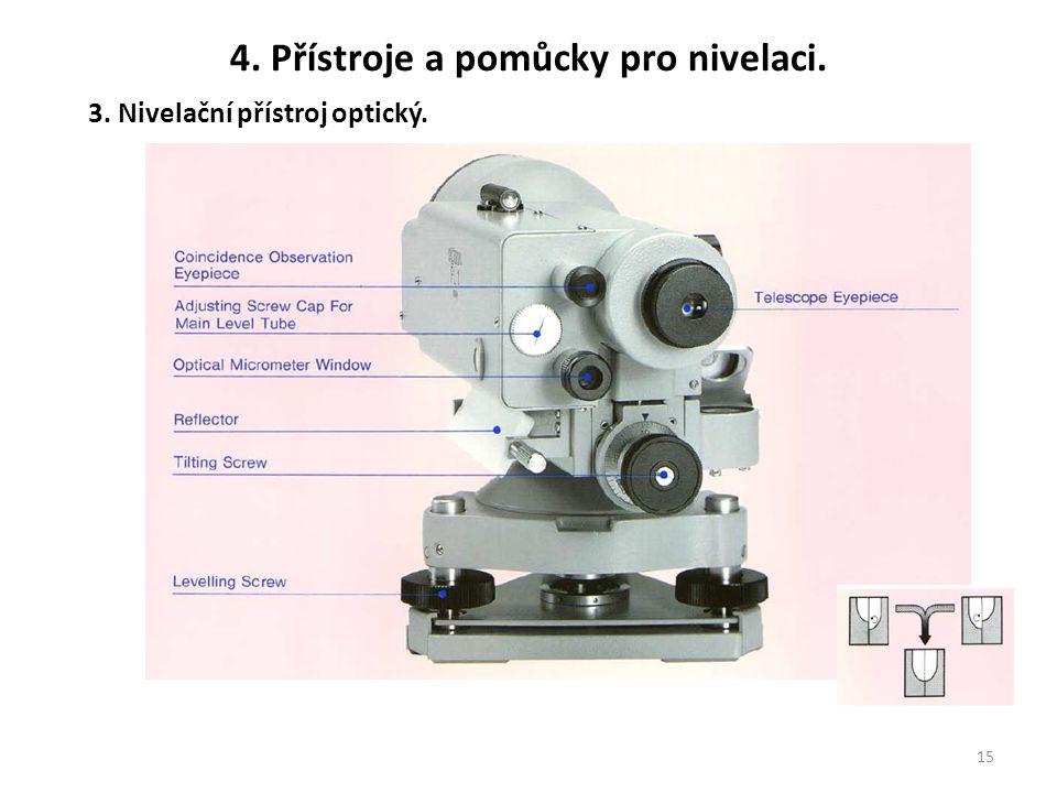 15 3. Nivelační přístroj optický. 4. Přístroje a pomůcky pro nivelaci.