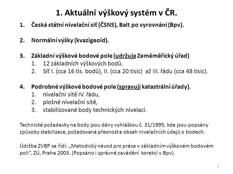 2 1.Česká státní nivelační síť (ČSNS), Balt po vyrovnání (Bpv). 2.Normální výšky (kvazigeoid). 3.Základní výškové bodové pole (udržuje Zeměměřický úřa