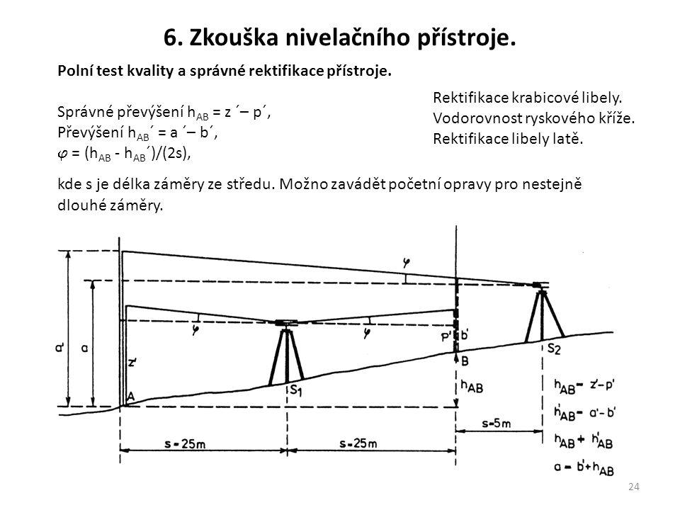 24 6. Zkouška nivelačního přístroje. Polní test kvality a správné rektifikace přístroje. Správné převýšení h AB = z ´– p´, Převýšení h AB ´ = a ´– b´,