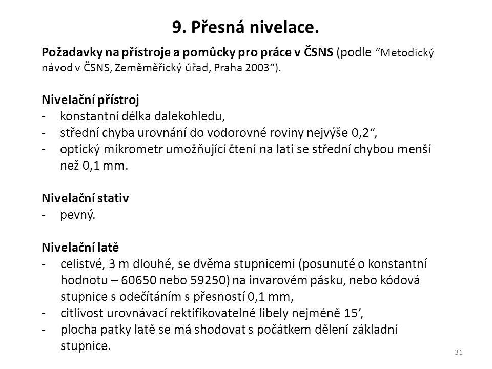 """31 9. Přesná nivelace. Požadavky na přístroje a pomůcky pro práce v ČSNS (podle """"Metodický návod v ČSNS, Zeměměřický úřad, Praha 2003""""). Nivelační pří"""